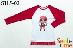 Реглан SmileTime для девочки Doll Lady DJ, красный с белым