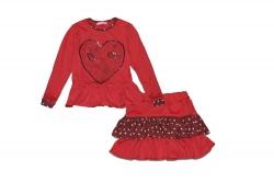 Комплект SmileTime для девочки реглан и юбка LoveBird, красный