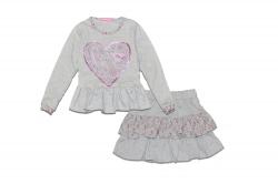 Комплект SmileTime для девочки реглан и юбка LoveBird, серый