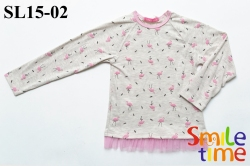 Реглан SmileTime для девочки Flamingo с флоком, бежевый