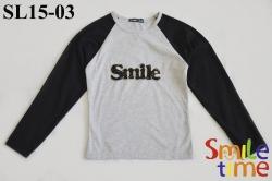 Реглан SmileTime для девочки Smile, серо-черный
