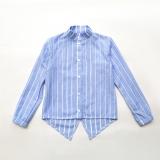 Рубашка SmileTime для девочки с длинным рукавом Crazy, голубой с белой полоской