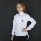 Блузка рубашка для девочки, с длинным рукавом, белая, SmileTime Crazy