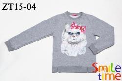 Свитшот SmileTime детский утепленный Cats, светло-серый