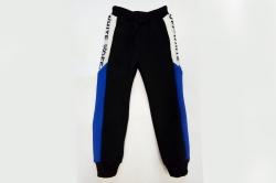 Штаны спортивные SmileTime для мальчика утепленные Off W, черные с синим