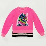 Свитшот SmileTime детский утепленный Color Kitten, розовый неон